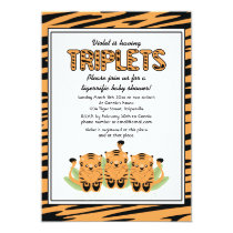 Neutral Tiger Triplets Baby Shower Invitation