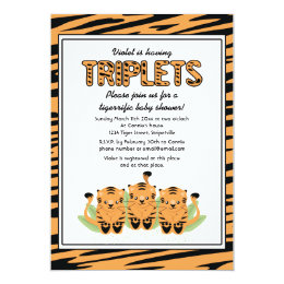 Triplet baby shower invitations announcements zazzle neutral tiger triplets baby shower invitation filmwisefo Choice Image