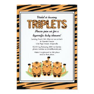 Neutral Tiger Triplets Baby Shower Invitation