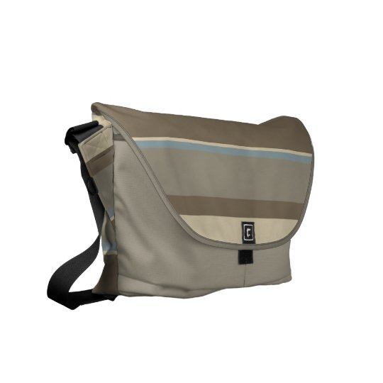 Neutral Tonal Stripes Design Messenger Bag