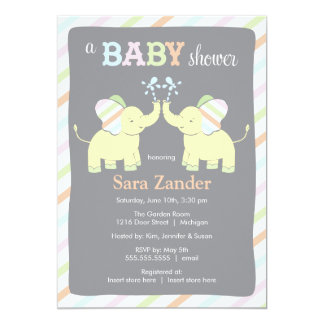Neutral Twin Elephants     Baby Shower Invitation