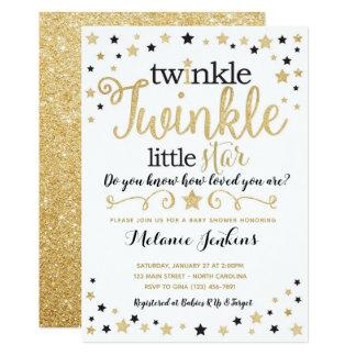 Neutral Twinkle Little Star Baby Shower Invitation