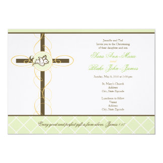 "Neutral Twins Christening/Baptism Invitation 5"" X 7"" Invitation Card"
