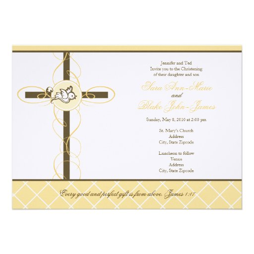 Neutral Twins Christening/Baptism Invitation