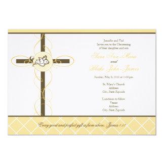"Neutral Twins Christening/Baptism Invitation 5"" X 7"" Invitation Card"