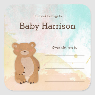 Neutral Watercolor Bear Baby Shower Bookplates