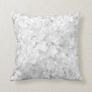 Neutral White Floral Hydrangea Throw Pillow