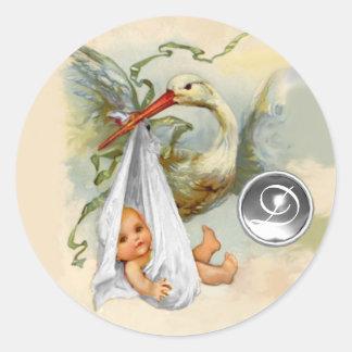 NEUTRAL WHITE STORK BABY SHOWER GEMSTONE MONOGRAM CLASSIC ROUND STICKER