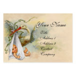NEUTRAL WHITE STORK BABY SHOWER Pearl paper Large Business Card