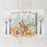 "Neutral Woodland Animals Baby Shower Placemat<br><div class=""desc"">Cute woodland animals for a baby boy shower. Our cute forest scene featuring a beer,  deer,  fox,  owl,  raccoon,  &amp; moose. Matching items available in our shop.</div>"