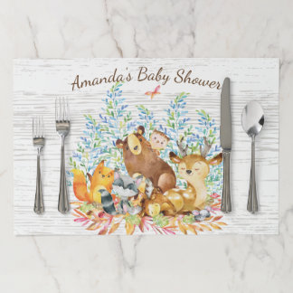 Neutral Woodland Animals Baby Shower Placemat