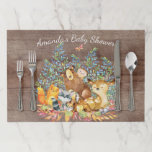 """Neutral Woodland Animals Baby Shower Placemat<br><div class=""""desc"""">Cute woodland animals for a baby boy shower. Our cute forest scene featuring a beer,  deer,  fox,  owl,  raccoon,  &amp; moose. Matching items available in our shop.</div>"""