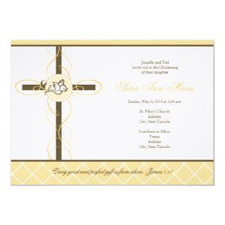 "Neutral Yellow Christening/Baptism Invitation 5"" X 7"" Invitation Card"