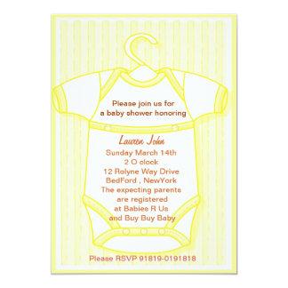 neutral yellow gro baby shower invitation