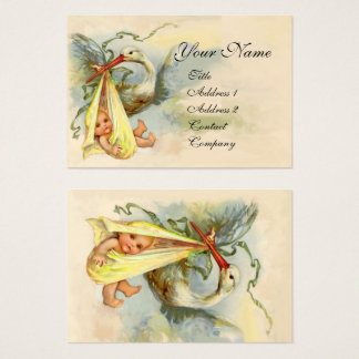 NEUTRAL YELLOW STORK BABY SHOWER Pearl paper Business Card