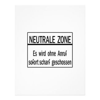 Neutrale Zone, Berlin Wall, Germany Sign Letterhead