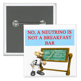 NEUTRINO quantum mechanics physics joke Pinback Button