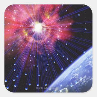 Neutrinos 3 pegatina cuadrada