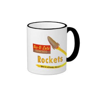 Nev-R-Late Neutrino Rockets - retro mug