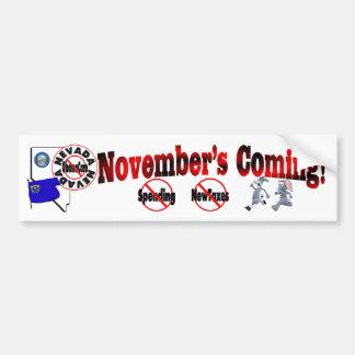 Nevada Anti ObamaCare – November's Coming! Bumper Sticker