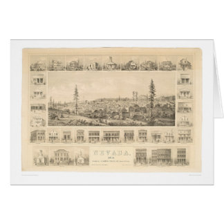 Nevada City, CA. Panoramic Map 1856 (1184A) Greeting Card
