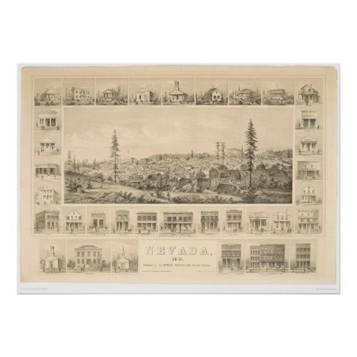 Nevada City, CA. Panoramic Map 1856 (1184A) Posters