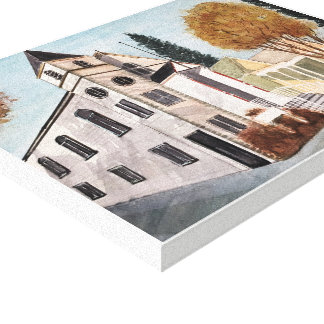 NEVADA CITY - watercolor, wrapped canvas print