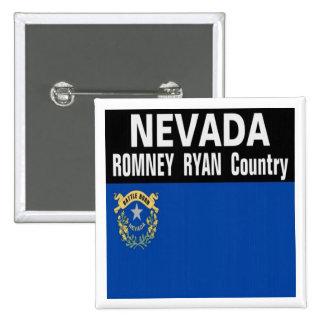 NEVADA es botón del país de Romney Ryan Pin Cuadrado