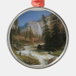 Nevada Falls Round Metal Christmas Ornament