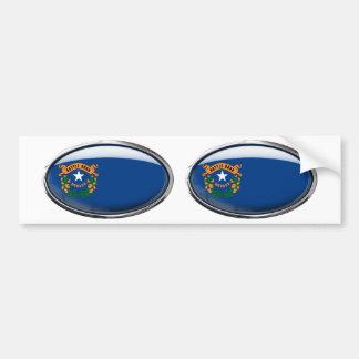 Nevada Flag Glass Oval Bumper Sticker