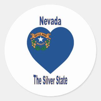 Nevada Flag Heart Classic Round Sticker