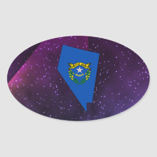 Nevada Flag Map on abstract space background Oval Sticker