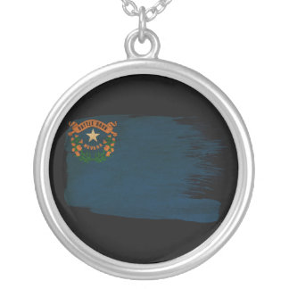 Nevada Flag Round Pendant Necklace