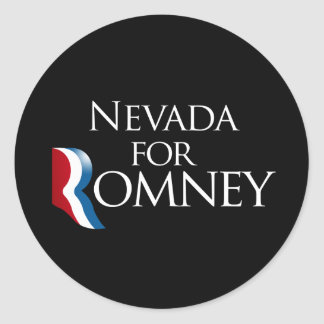 Nevada for Romney -.png Classic Round Sticker
