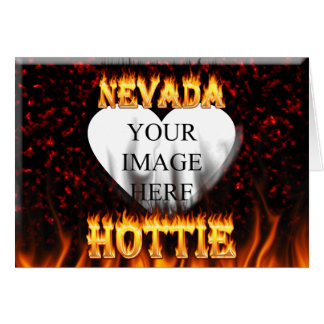 Nevada Hottie fire and red marble heart Card
