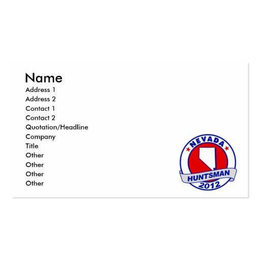 Nevada Jon Huntsman Business Card