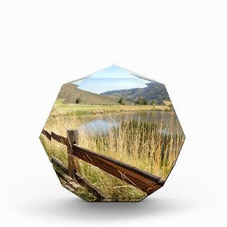 Nevada landscape with wood fence, lake, sky. acrylic award