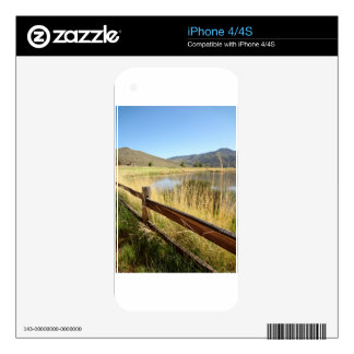Nevada landscape with wood fence, lake, sky. decal for the iPhone 4S