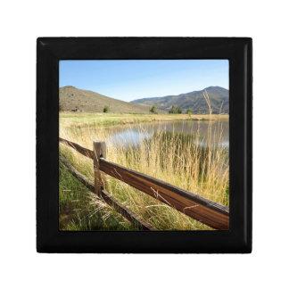 Nevada landscape with wood fence, lake, sky. keepsake box