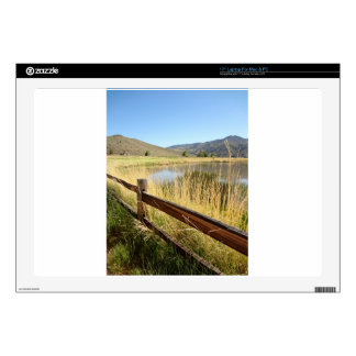 Nevada landscape with wood fence, lake, sky. skin for laptop
