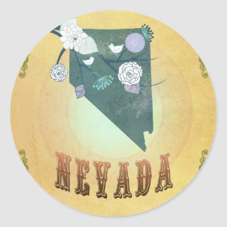 Nevada Map With Lovely Birds Classic Round Sticker