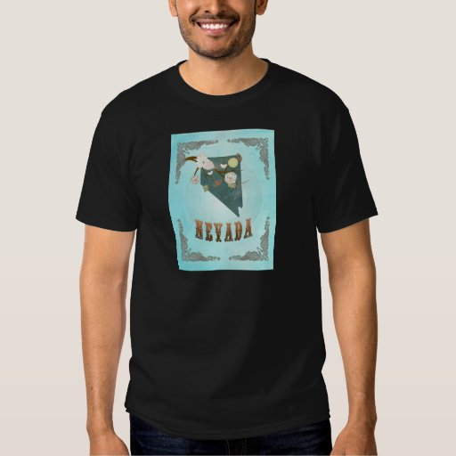Nevada Map With Lovely Birds Tee Shirts