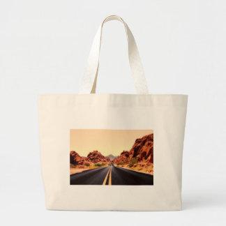 Nevada Mountains Road Highway Travel Landscape Large Tote Bag