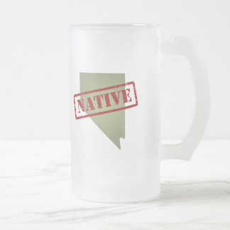 Nevada Native with Nevada Map Frosted Glass Beer Mug