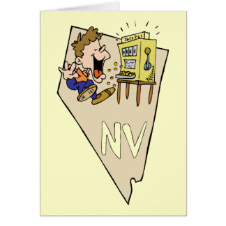 Nevada NV State Map & Gambler Jackpot Cartoon Greeting Card