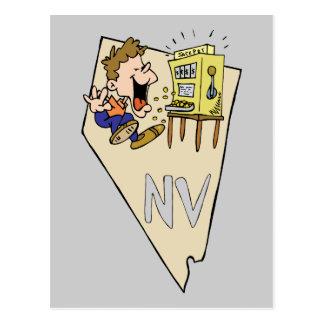 Nevada NV State Map & Gambler Jackpot Cartoon Post Cards