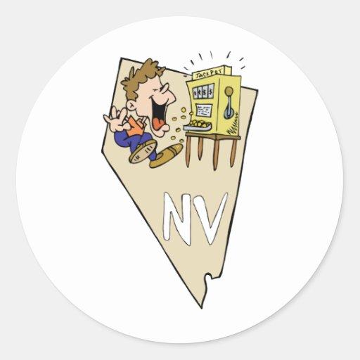 Nevada NV State Map & Gambler Jackpot Cartoon Classic Round Sticker
