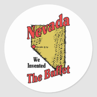Nevada NV US Motto ~ We Invented The Buffet Classic Round Sticker