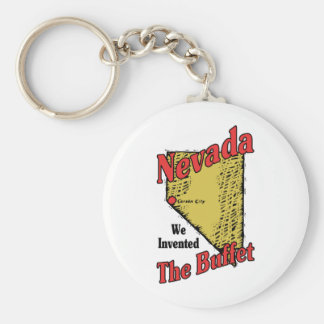 Nevada NV US Motto ~ We Invented The Buffet Basic Round Button Keychain