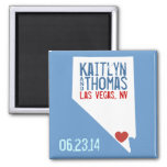 Nevada Save the Date - Customizable City 2 Inch Square Magnet